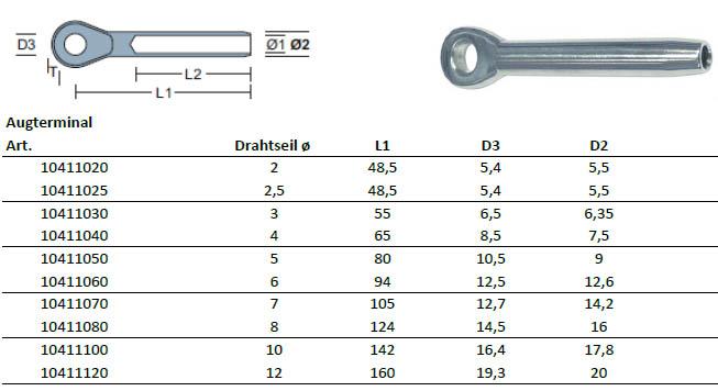 Drahtseil V4A - 3mm ø Auge- Spanner - Auge-1190319