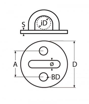 Wandauge / Augplatte, rund - 5mm Bügel / Edelstahl A2 - 1.4301