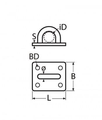 Wandauge /Augplatte, eckig - 6mm Bügel / Edelstahl A2 - 1.4301