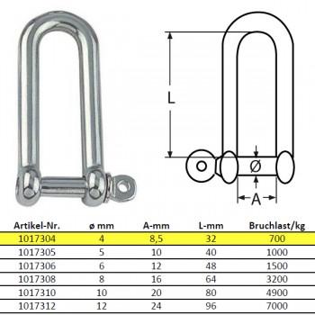 D-Schäkel, lange Form - M4, Edelstahl