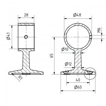 "Seilträger / Seilhalter ""Edelstahl matt"" für 40mm Handlaufseil"