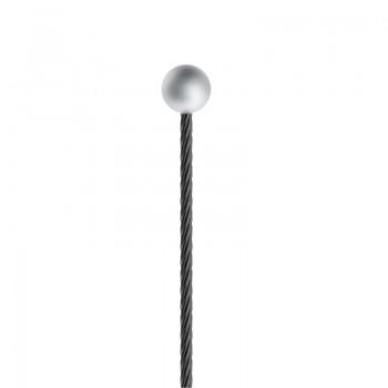 Drahtseil - Schwarz, ø 1,0mm mit Kugelnippel 4,0mm ø - Länge 2500mm
