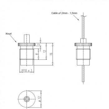 Drahtseilhalter Gripper 15 SE M10x1 Gewinde - vernickelt