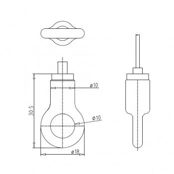 Drahtseilhalter Gripper Typ 15 mit Ring - vernickelt