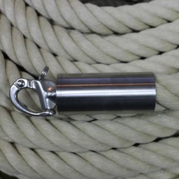 """Abschluß-Endkappe """"Edelstahl matt"""" mit Schnapphaken für 30mm Seil"""
