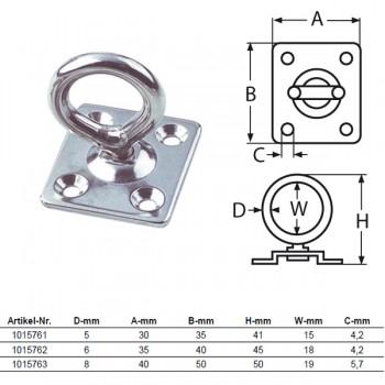 Augplatte mit Wirbel - 5mm bis 8mm Bügel