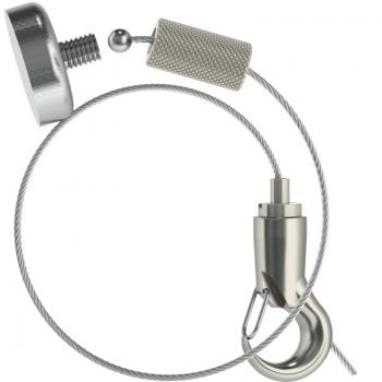 Abhängeset mit Topfmagnet und Haken / Drahtseil ø 1,5mm - Länge 3,0mtr.