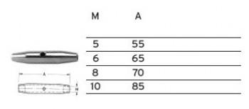 Spannschlossmutter Mini / M5 x 55mm