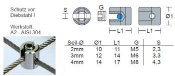Edelstahl Seilkreuzklemme - 4,0mm Drahtseil - Mini / KK5-4
