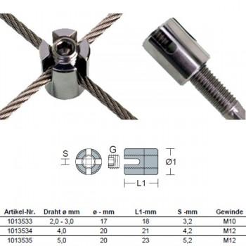 Kreuzklemme M10 offen für 2mm / 3mm Drahtseil