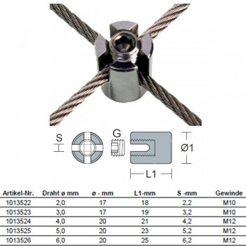 Edelstahl Seilkreuzklemme für 2,0 - 6,0mm Drahtseil