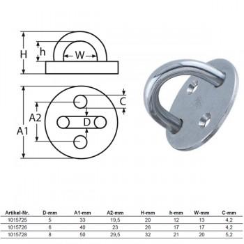 Wandauge mit Grundplatte, rund - 5mm Bügel / 1015725