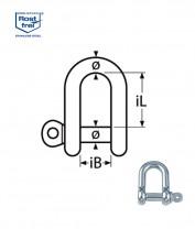 D-Schäkel, kurze Form - M13, Edelstahl A4 - 1.4401, Bruchlast 6.600kg