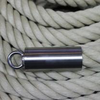 """Abschluß-Endkappe """"Edelstahl matt"""" mit Augende für 40mm Seil"""