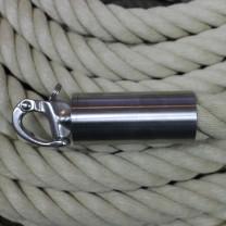"""Abschluß-Endkappe """"Edelstahl matt"""" mit Schnapphaken für 40mm Seil"""