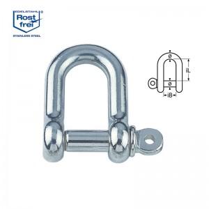 D-Schäkel, kurze Form - M8, Edelstahl A4 - 1.4401, Bruchlast 3000kg