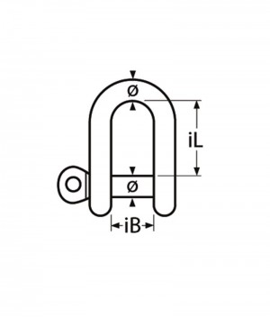 D-Schäkel, kurze Form - M4, Edelstahl A4 - 1.4401, Bruchlast 700kg