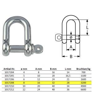 D-Schäkel mit unverlierbarem Bolzen, kurze Form - M8, Edelstahl