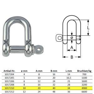 D-Schäkel mit unverlierbarem Bolzen, kurze Form - M10, Edelstahl
