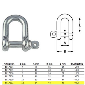 D-Schäkel mit unverlierbarem Bolzen, kurze Form - M12, Edelstahl