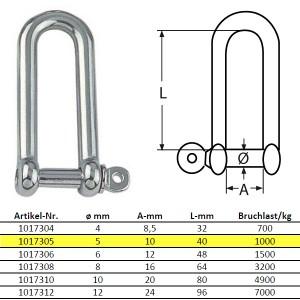 D-Schäkel, lange Form - M5, Edelstahl