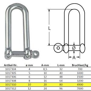 D-Schäkel, lange Form - M10, Edelstahl