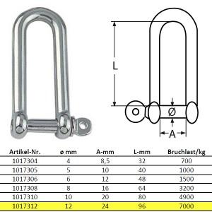D-Schäkel, lange Form - M12, Edelstahl