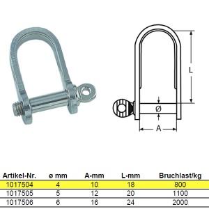 Flachschäkel, kurze Form - M4, Edelstahl