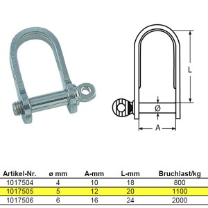 Flachschäkel, kurze Form - M5, Edelstahl