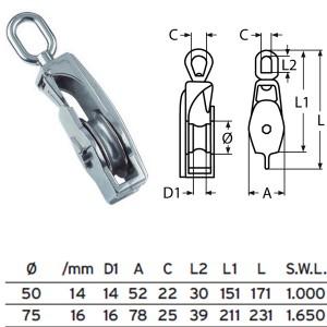 Klappblock mit Wirbel - 50mm ø
