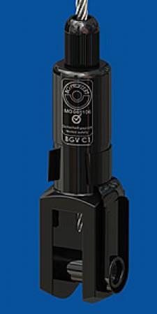 Drahtseilhalter Typ 50SV II, M12mit Koppelteil Gabel 14x28schwarz verzinkt mit Verriegelungsmutter