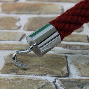 """Seilendkappe mit Haken """"verchromt glänzend"""" für 20 - 40mm Absperrseile"""
