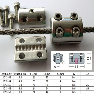 """Edelstahl Klemmstopper """"SW"""" für 6,0mm Drahtseil / KS4-6"""