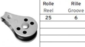 Block mit Kunststoffrolle mit Bügel - 25mm ø
