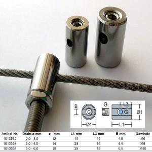 Edelstahl Klemmkopf - 2,0 - 6,0mm Drahtseil
