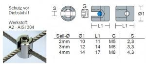 Edelstahl Seilkreuzklemme - 2,5 - 3,0mm Drahtseil - Mini / KK5-3