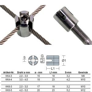 "Kreuzklemme ""offen"" für 2mm - 5mm Drahtseil"