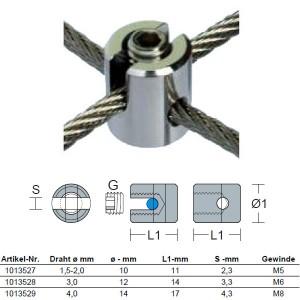 Edelstahl Seilkreuzklemme - 1,5 - 2,0mm Drahtseil - Mini / KK5-2