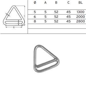 Triangel-Ring mit Steg, 6x52mm ø, Edelstahl