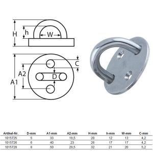 Wandauge mit Grundplatte, rund - 6mm Bügel / 1017526