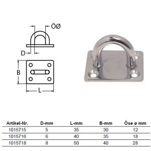 Wandauge mit Grundplatte - 8mm Bügel