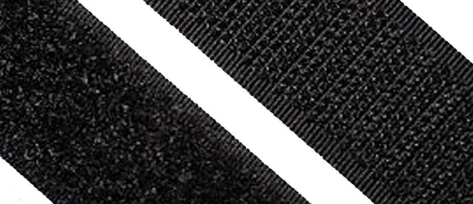 Hakenband zum Nähen, schwarz 20 - 50mm Breite