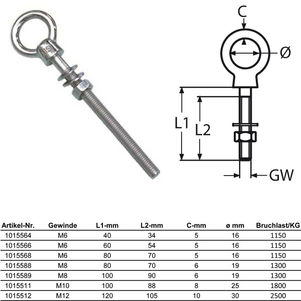/Ösenbolzen Edelstahl A4 V4A rostfrei - Augbolzen mit metrischem Gewinde Ringbolzen M8 x 80 mm 5 St/ück Eisenwaren2000