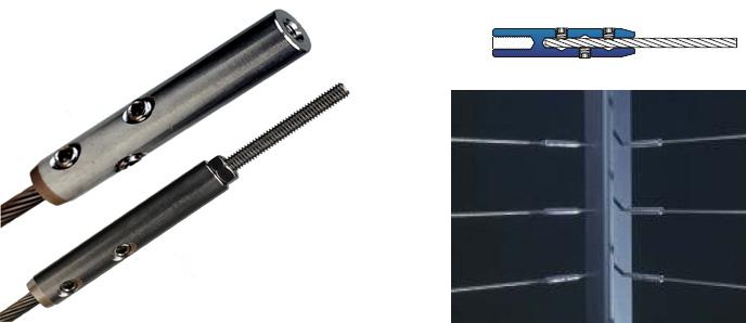 Spannschrauben / Terminals - SB Montage für Geländerfüllungen oder Ranksysteme